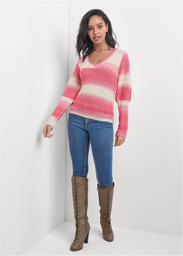 Full front view Ombre Striped Sweater
