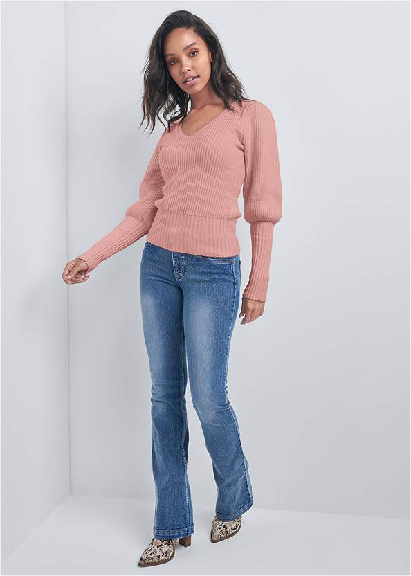 Full front view Ribbed V-Neck Sweater