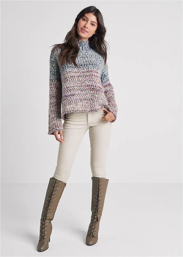Full front view Marled Knit Turtleneck
