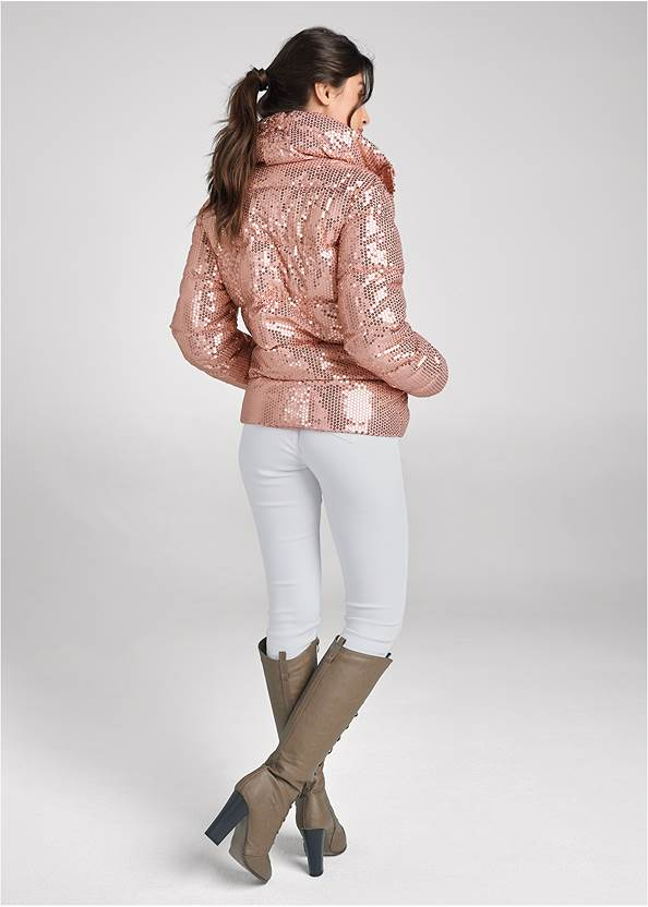 Full back view Sequin Puffer Jacket