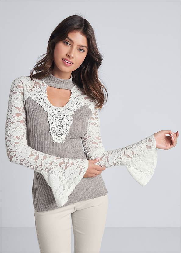 Lace Detail Ribbed Top