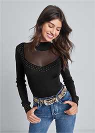 Cropped front view Mesh Inset Sweater