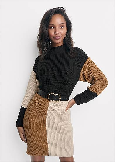 Belted Color Block Sweater Dress