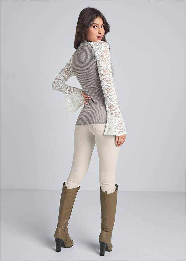 Full back view Lace Detail Ribbed Top