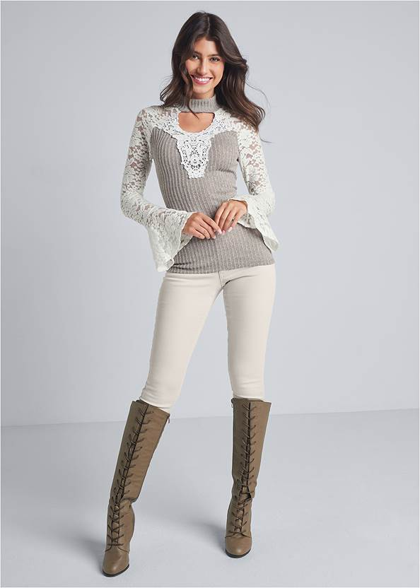 Full front view Lace Detail Ribbed Top