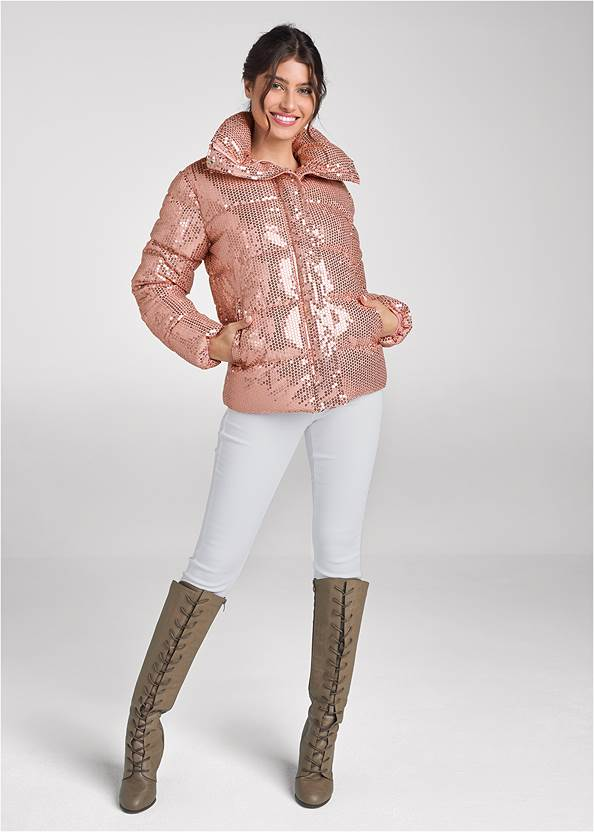 Full front view Sequin Puffer Jacket