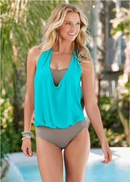 Front View Cowl Neck Twofer One-Piece