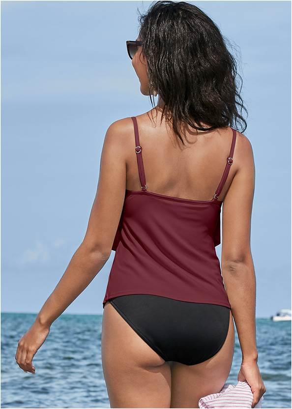 Back View Tiered Ruffle Tankini Top