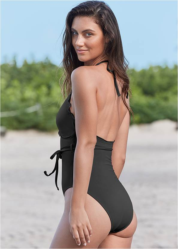 Back View Sustainable Wrap One-Piece