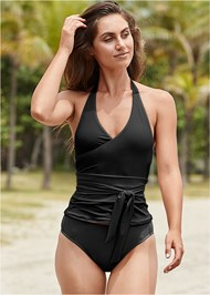 Front View Sustainable Wrap Tankini Top