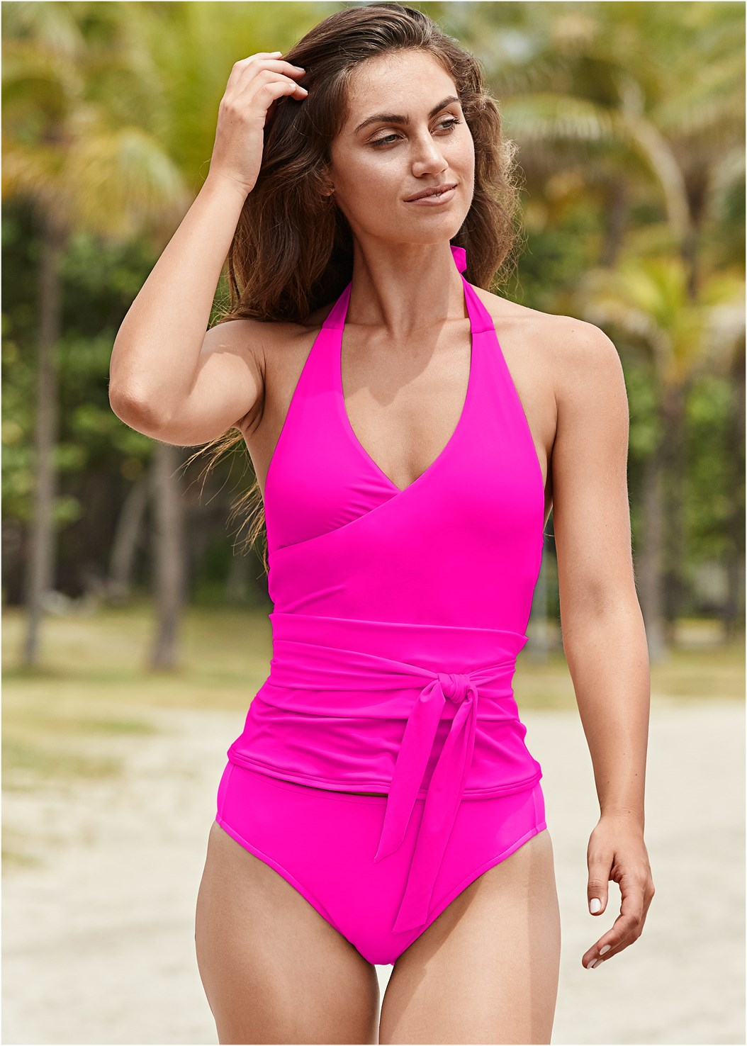 Sustainable Wrap Tankini Top,Sustainable Tie Side Bottom