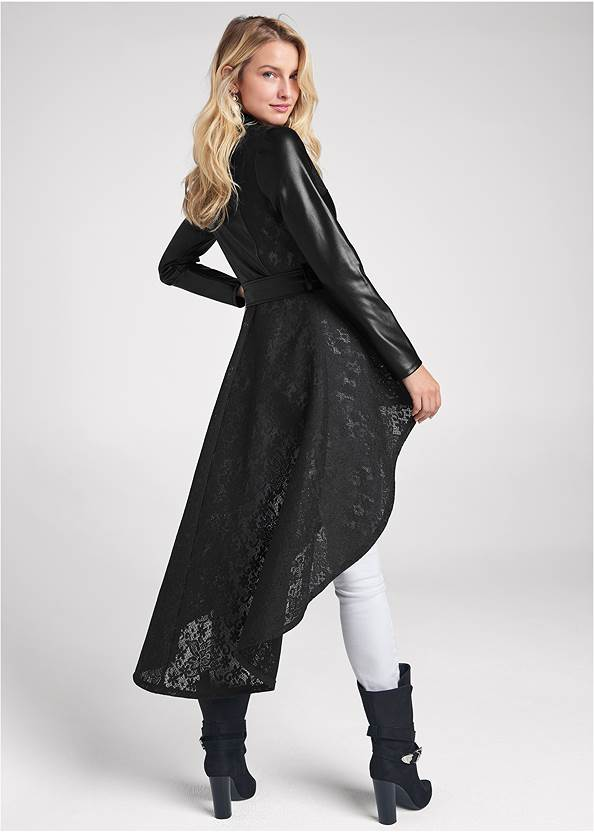 Full back view Lace Detail Trench Coat