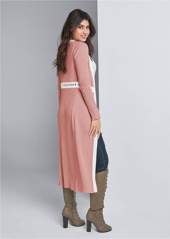 Full back view Ribbed Knit Detail Duster