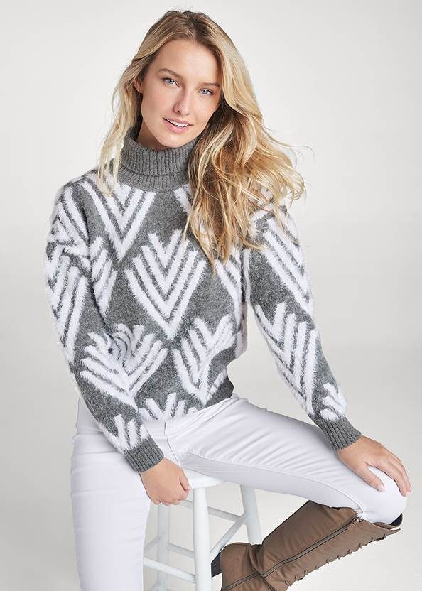 Printed Eyelash Turtleneck,Bum Lifter Jeans,Lace Up Tall Boots