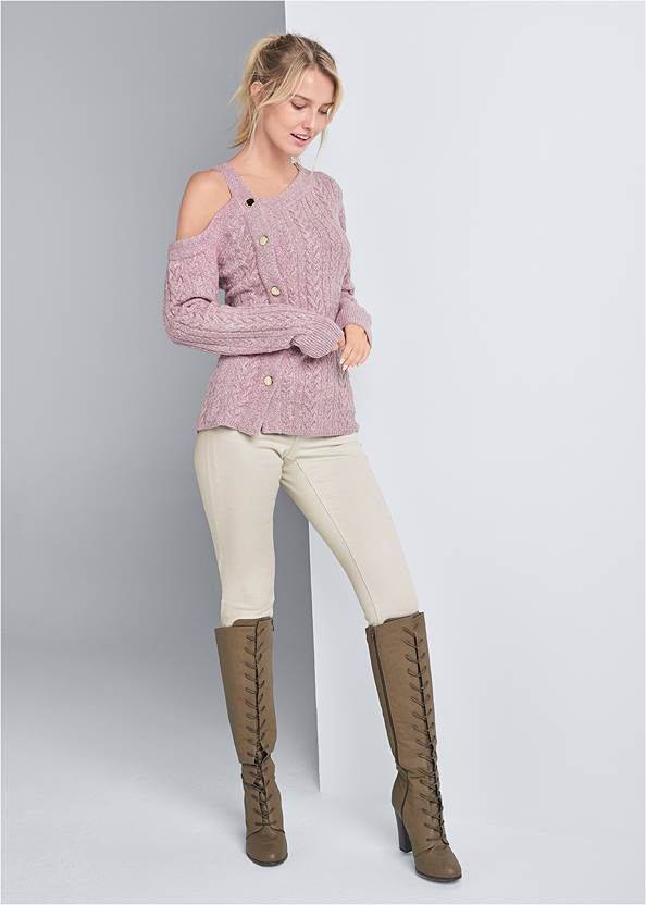 Full front view Side Button Sweater