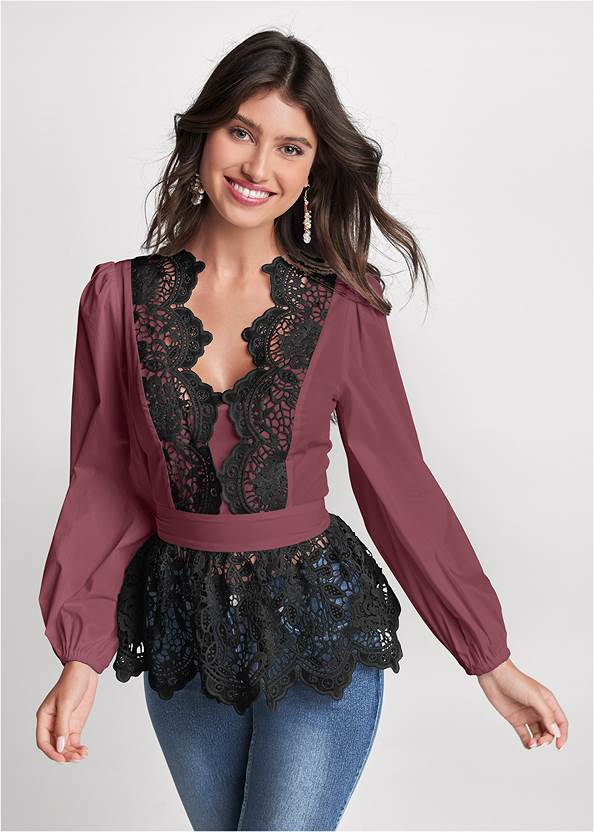 Lace Peplum Blouse,Casual Bootcut Jeans,Peep Toe Booties,Mid Rise Slimming Stretch Jeggings,Slouchy Block Heel Boots,Raffia Hoop Earring Set,Pleated Tote Bag