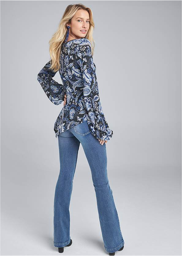 Full back view Paisley Balloon Sleeve Top