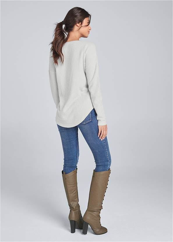 Back View Lace Up Waffle Knit Top