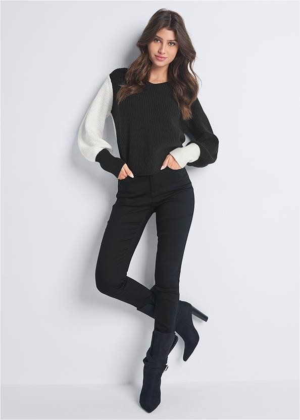 Front View Twist V-Back Sweater