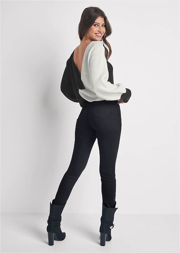 Back View Twist V-Back Sweater