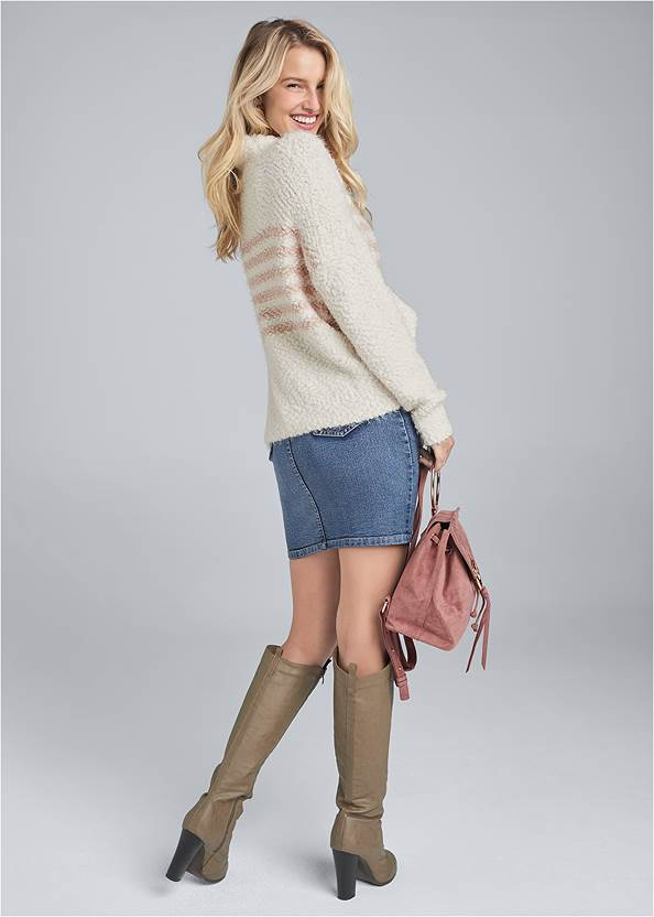 Full back view Striped Mock Neck Sweater
