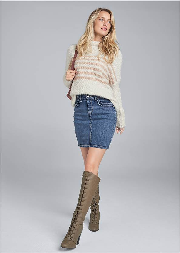 Full front view Striped Mock Neck Sweater