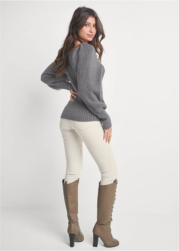 Back View Square Neck Sweater