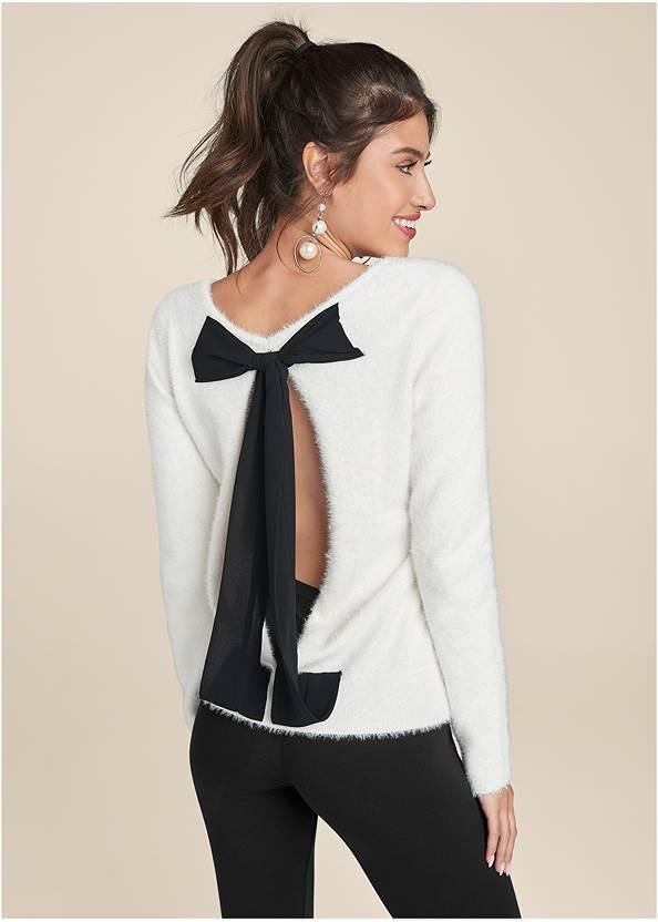 Bow Detail Eyelash Sweater