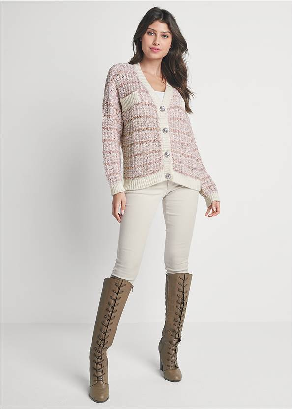 Full front view Tweed Cardgian With Lurex