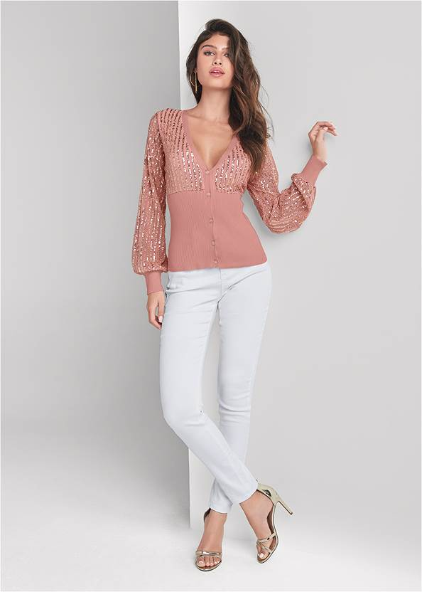 Full front view Sequin Cardigan