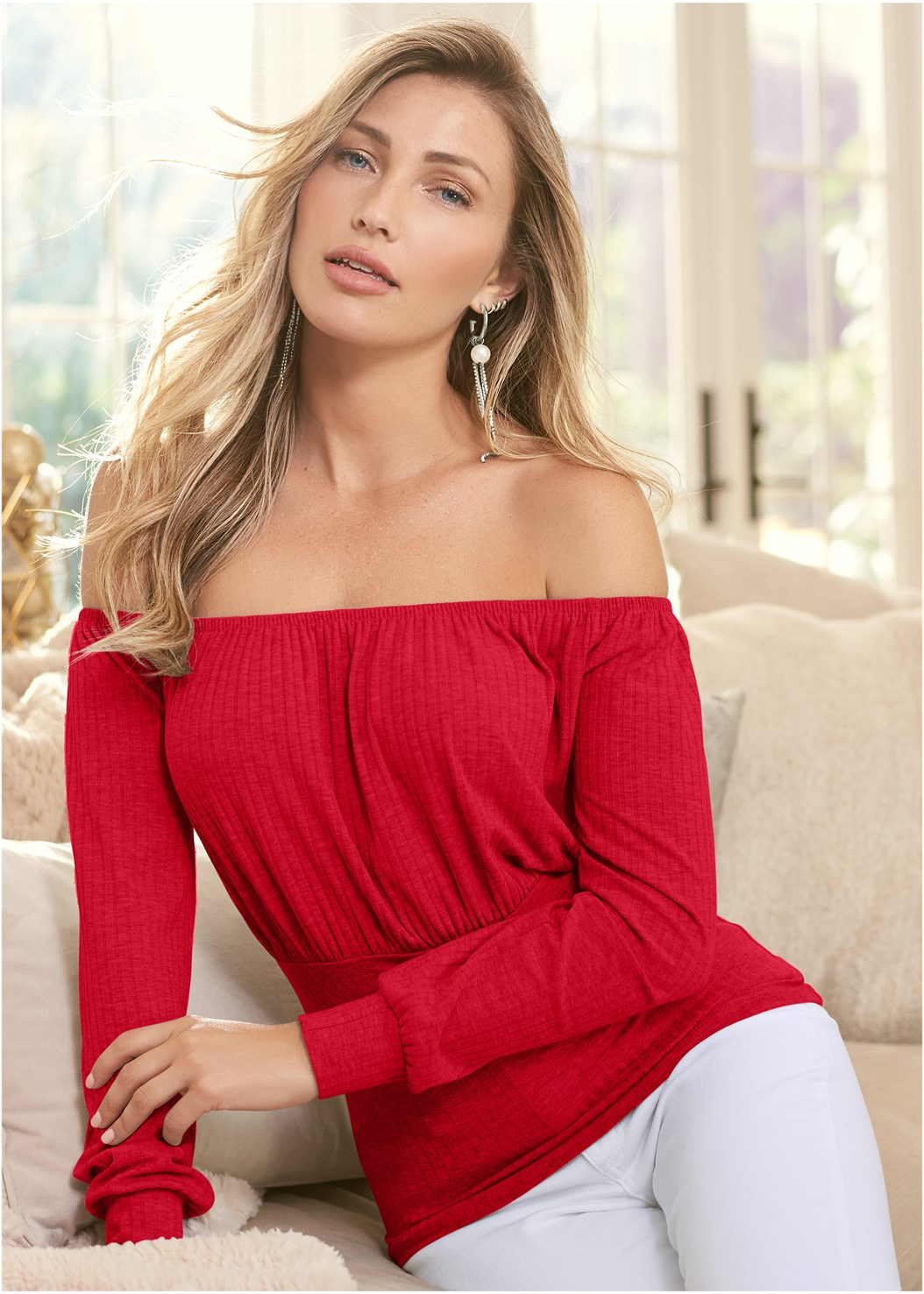 Off The Shoulder Ribbed Top,Mid Rise Color Skinny Jeans,Strapless Bra With Geo Lace,Ankle Strap Heels,Rhinestone Fringe Earrings,Medallion Earrings