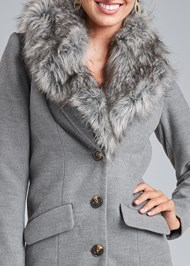 Alternate View Faux Fur Trim Coat