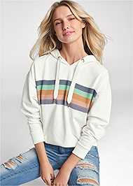Cropped Front View Striped Detail Sweatshirt