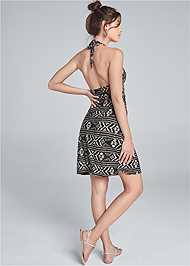 Alternate View Printed Halter Tie Dress