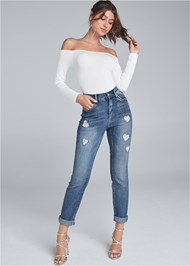 Front View Heart Patch Jeans