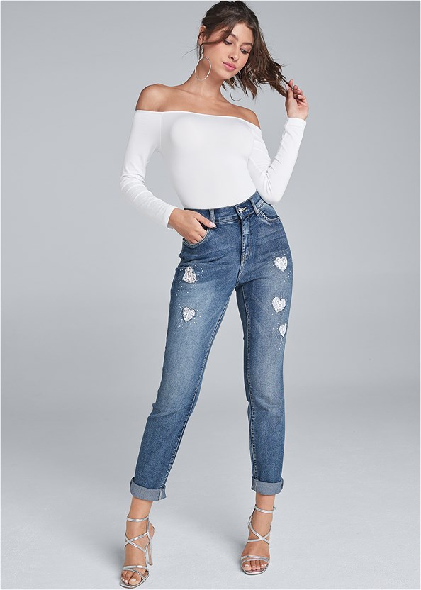 Heart Patch Jeans,Off The Shoulder Top,Long Sleeve Strappy Top,Multi Strap Ankle Wrap Heel,Animal Texture Bling Belt,Rhinestone Heart Earrings