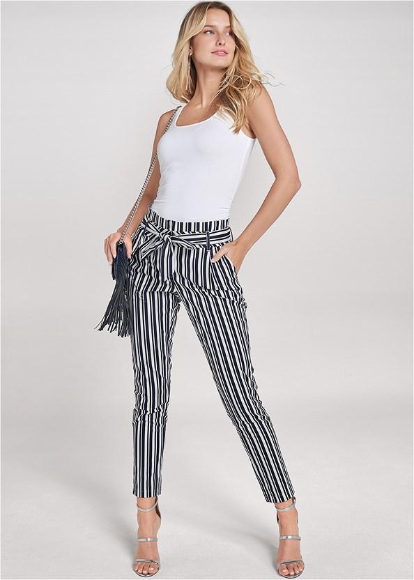 Striped Paperbag Pants,Square Neck Tank Top,High Heel Strappy Sandals,Chevron Fringe Crossbody