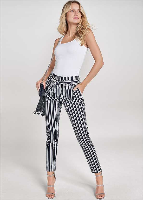Striped Paperbag Pants,Square Neck Tank Top,High Heel Strappy Sandals,Chevron Fringe Crossbody