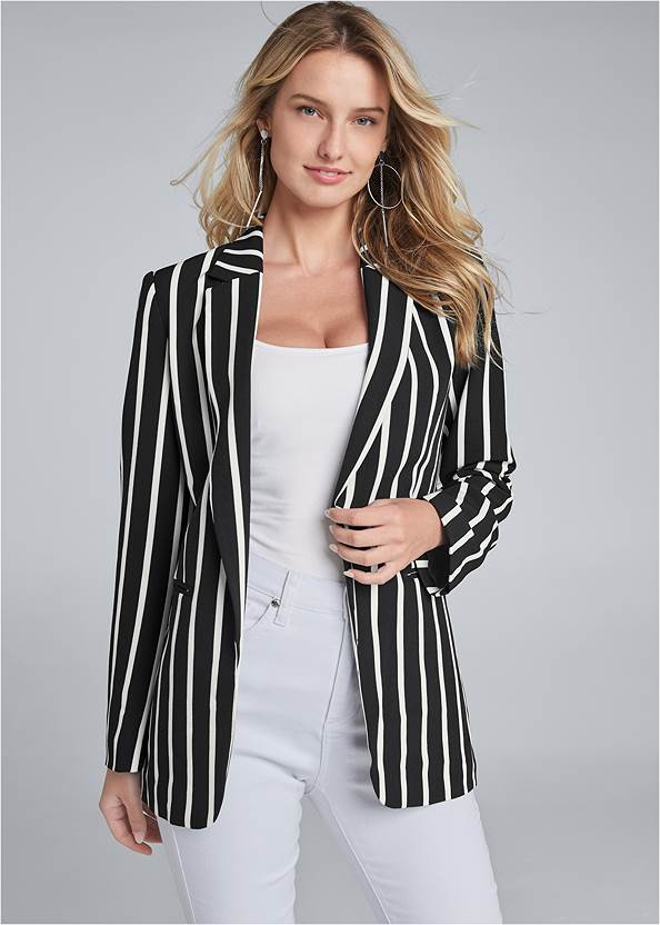 Striped Blazer,Basic Cami Two Pack,Mid Rise Color Skinny Jeans,Bum Lifter Jeans