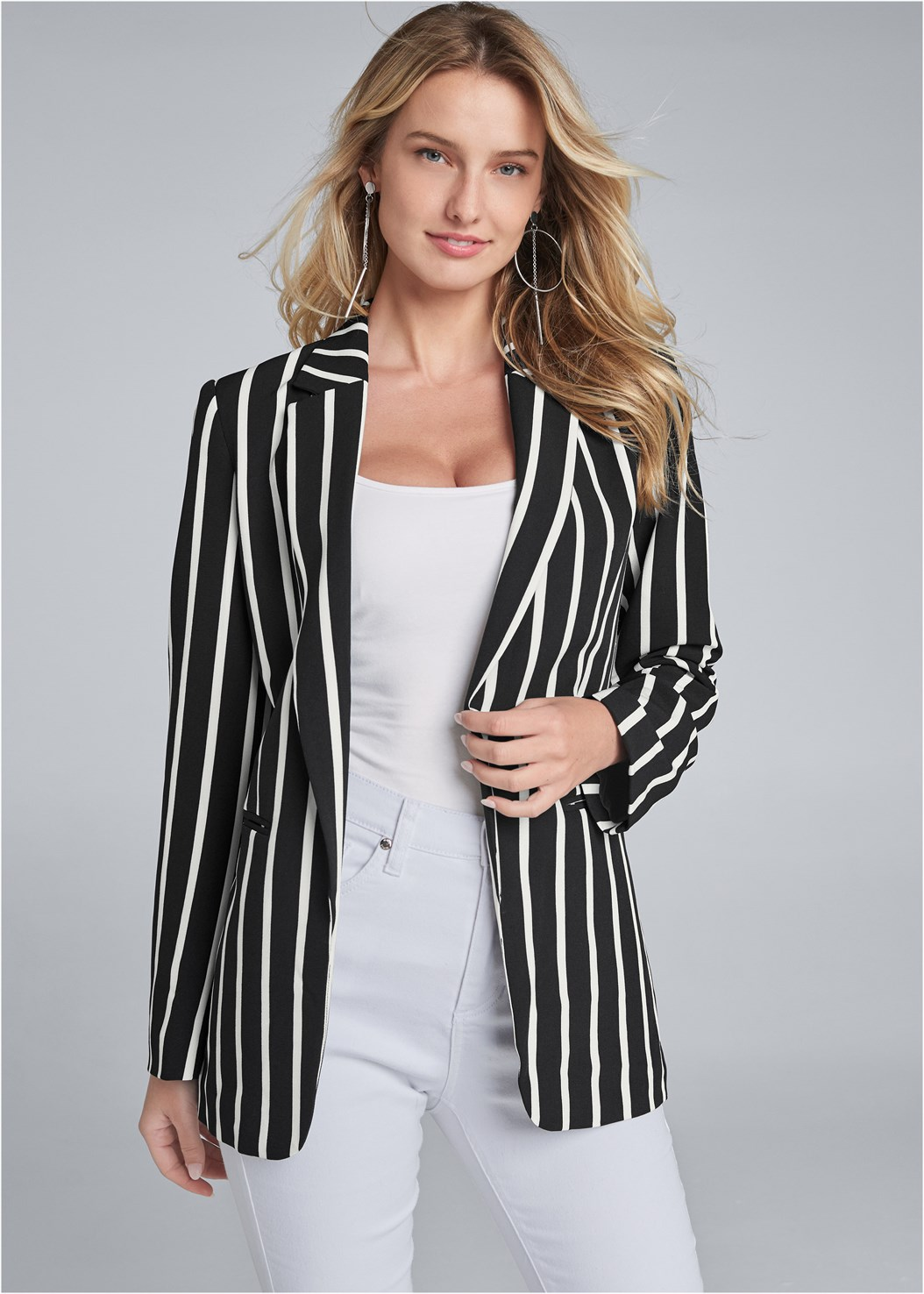 Striped Blazer,Basic Cami Two Pack,Mid Rise Color Skinny Jeans,Bum Lifter Jeans,Strapless Bra With Geo Lace,High Heel Strappy Sandals,Hoop Detail Earrings