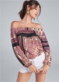 Front View Off Shoulder Printed Top