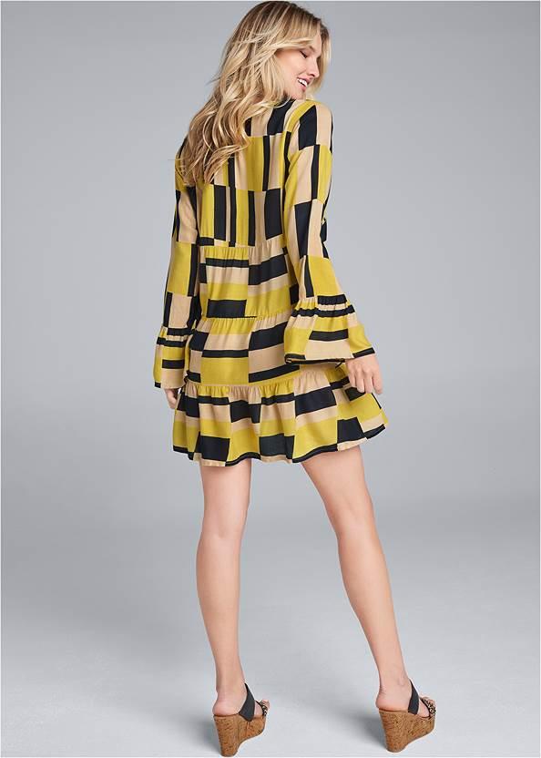 Back View Geometrical Printed Dress
