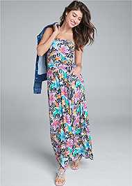 Full Front View Strapless Maxi Dress