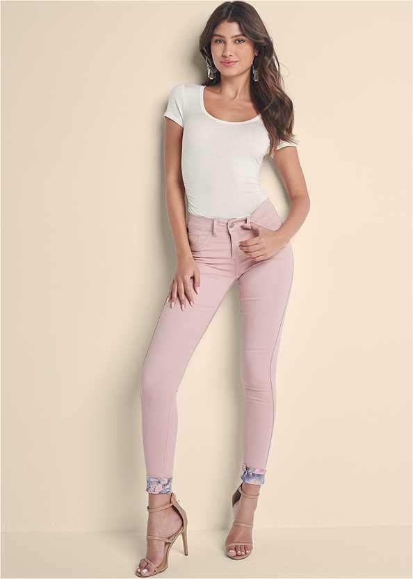 Reversible Jeans,Ruched Detail Top,High Heel Strappy Sandals,Tassel Hoop Earrings,Beaded Hoop Earrings,Shell Detail Clutch