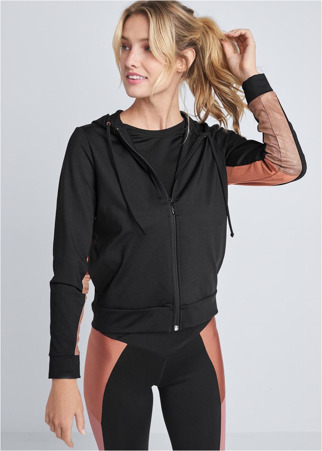Color Block Shine Jacket,Color Block Shine Set,Wirefree Comfort Bra