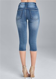 Back View Ripped Capri Jeans
