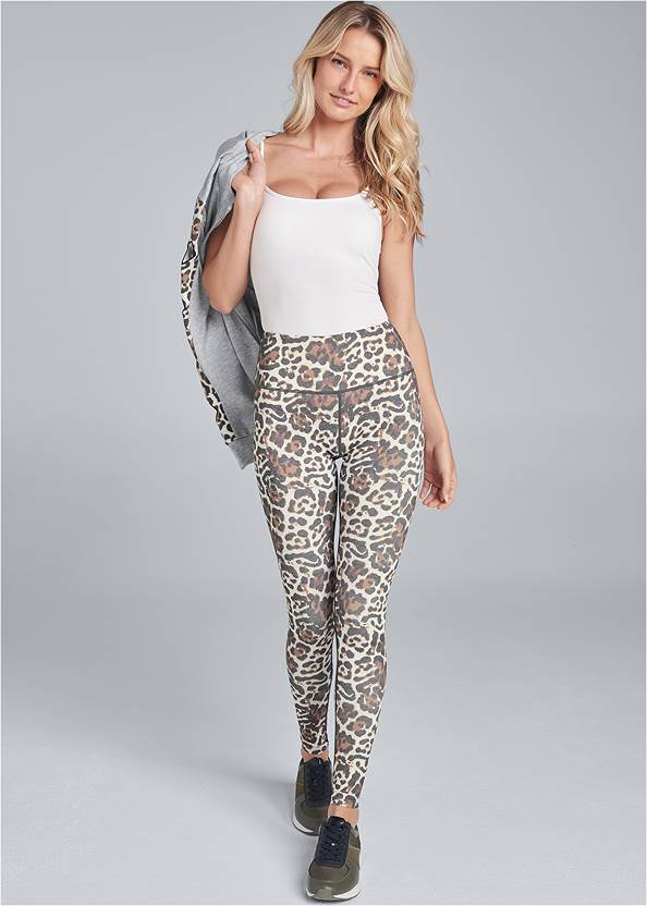 High Waisted Active Leggings,Basic Cami Two Pack,Leopard Cut-Out Jacket,Animal Print Sneakers