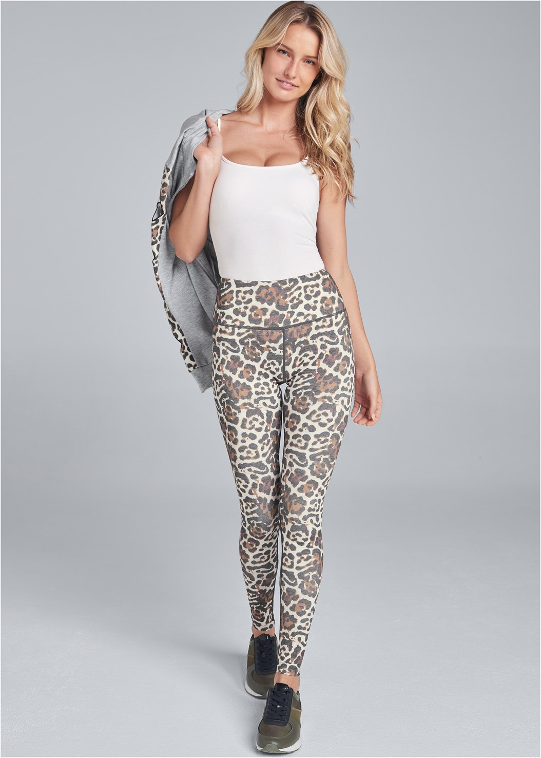 High Waisted Active Legging,Basic Cami Two Pack,Leopard Cut-Out Jacket,Strapless Bra With Geo Lace,Animal Print Sneakers