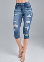 Front View Ripped Capri Jeans
