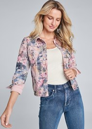 Cropped front view Reversible Denim Jacket